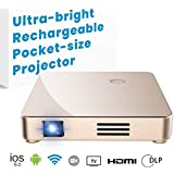 Mini Projector, SeeYing S1 HD Pocket Video Projector 1080P, Upgraded DLP Technology, up to 120 inch Display, Supports HDMI, MHL,Airplay, Miracast, Gaming, WiFi Bluetooth Connectivity with Remote