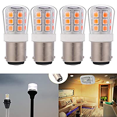 12V low voltage #90 1004 1076 led light bulb BA15D double Contact Bayonet for RV trailer camper motor home marine boat landscape bulb 2.5W 330lm equivalent 35W Warm White 3000K pack of 4: Automotive