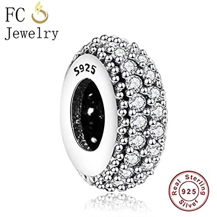 131f44753 Image Unavailable. Image not available for. Color: Ochoos 925 Sterling  Silver Eternity Vintage Spacer Beads Fits Original Pandora Charms ...