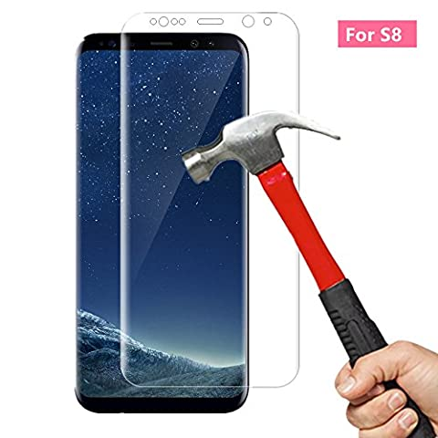 AOKER Galaxy S8 Screen Protector, [New] [3D Curved Full Cover] Ultra Clear 9H Hardness Premium Tempered Glass Full Coverage for Samsung Galaxy S8 With Lifetime Replacement Warranty (Iphone 6 Case Otterbox Hunting)