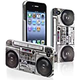 eForCity® Snap-on Rubber Coated Case Compatible with Apple® iPhone® 4 / 4S, New Cool Retro Old Player / Recorder Pattern