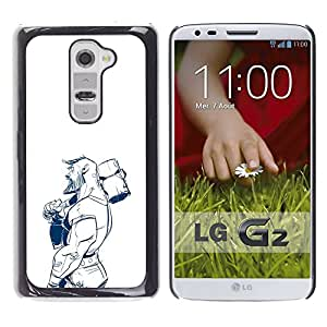 Paccase / SLIM PC / Aliminium Casa Carcasa Funda Case Cover - Strong Man Hammer Construction Pencil Drawing - LG G2 D800 D802 D802TA D803 VS980 LS980