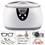 Homdox Ultrasonic Jewellery Cleaner, Professional 600ml 42KHZ High-power Ultrasonic Eyeglass Cleaner Washer 50 Watt with 5 Digital Timer Jewelry Watch Glasses Cleaner Machine