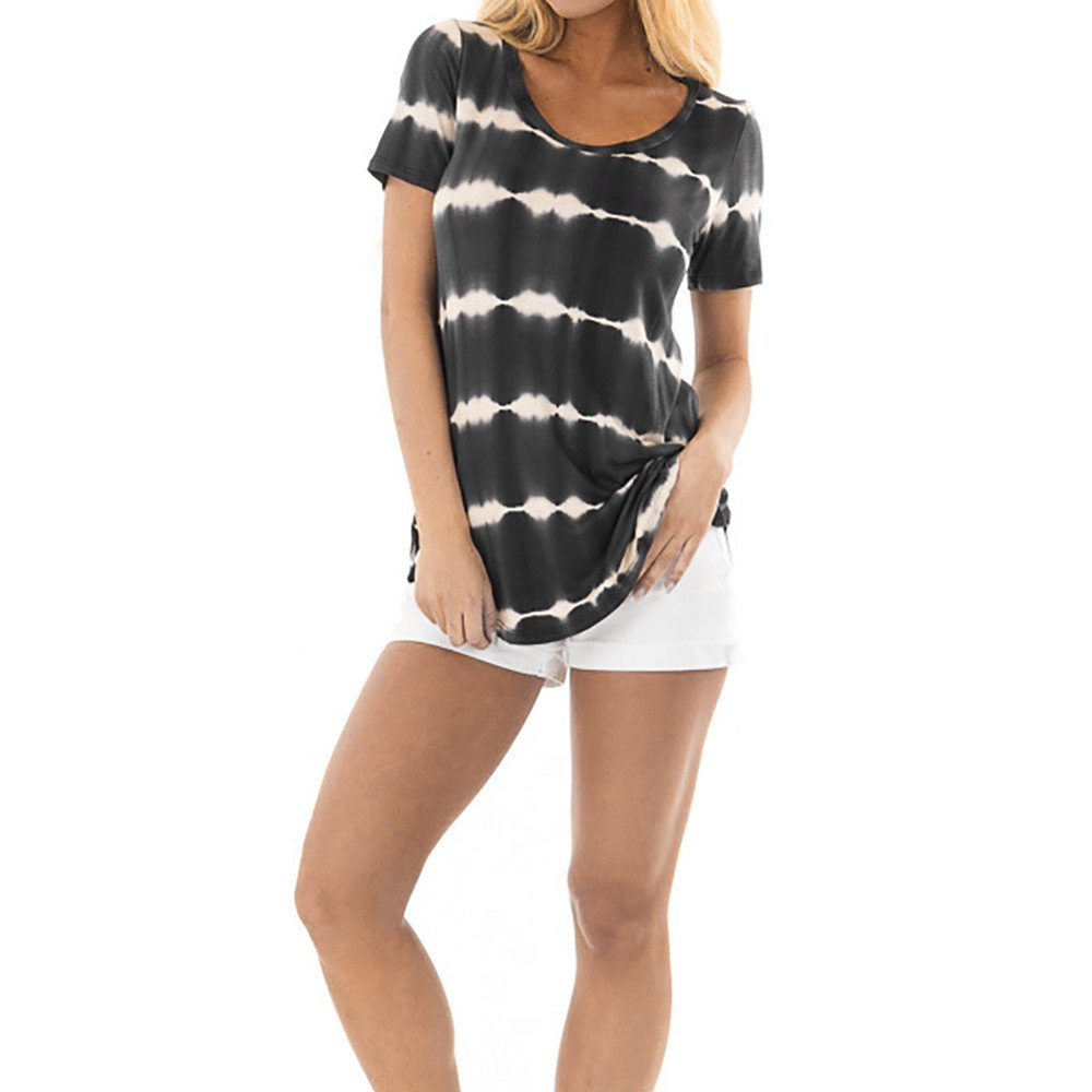 0bdf747acfcc iPOGP Blouse Women Short Sleeve Summer Casual Striped O-Neck Pullover Tops T  Shirt Girls Fashion 2019 at Amazon Women s Clothing store
