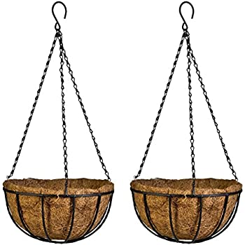 Attirant Kingbuy 2 Pack Hanging Basket Planter Metal With Coco Coir Liner 8 Inch  Round Wire Plant Holder With Chain Porch Decor Flower Pots Hanger Home  Garden ...