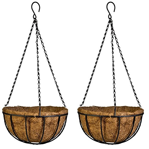 Kingbuy Hanging Basket Planter Metal with Coconut Coir Liner Wire Plant Holder with Garden Decorations for Porch Pots Hanger Garden Decoration Indoor Outdoor Watering Plant Flower Pot-10inch 2 Pack