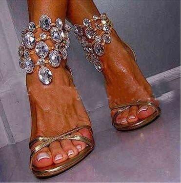 Roma tacón alto sandalias del Rhinestone cristalino de la cadena Roma sandalias de tacón alto Golden