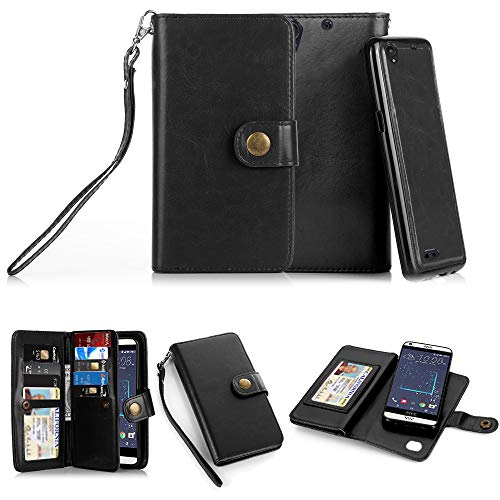 TabPow HTC Desire 530, 626, 626s Case, 10 Card Slot - ID Slot, Button Wallet Folio PU Leather Case Cover With Detachable Magnetic Hard Case For HTC Desire 530/ Desire - Htc Phone Desire Wallet