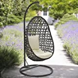 Yopih Cocoon Hanging Chair And Cushion Rattan Swing Chair Outdoor Garden Patio Hanging Wicker Weave Furniture
