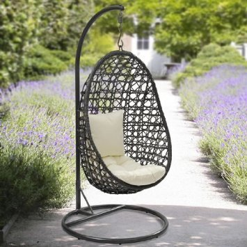 Charmant Yopih Cocoon Hanging Chair And Cushion Rattan Swing Chair Outdoor Garden  Patio Hanging Wicker Weave Furniture