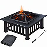 Topeakmart 32'' Square Metal Fire Pit Outdoor/Camp/Backyard/Patio/Garden BBQ/Barbecue/Grill Stove with Brazier Cover & Poker