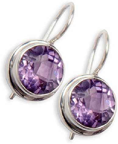 Sitara Collections SC968 Hand-Crafted 925 Sterling Silver Earrings, Faceted Amethyst