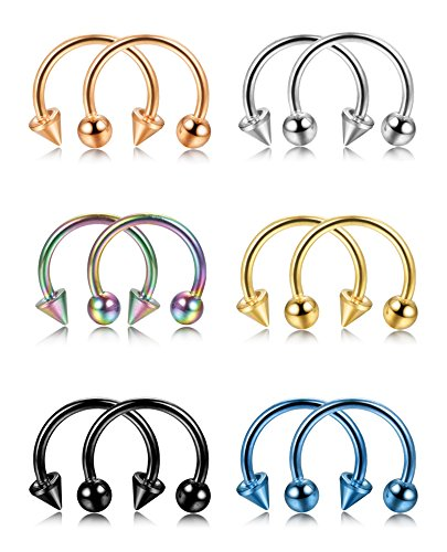 LOYALLOOK 12PCS 16G Stainless Steel Multi-functional Nose Septum Horseshoe Hoop Earring Lip Nipple Captive Hoop Ring Tragus Cartilage Earrings (Horseshoe Nipple)