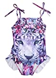 Little Girls One Piece Swimsuit Flower Tiger Printed Bathing Suit (5-6 T, Tiger)