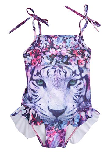 Little Girls One Piece Swimsuit Flower Tiger Printed Bathing Suit (7-8 T, - Ruffle Animal