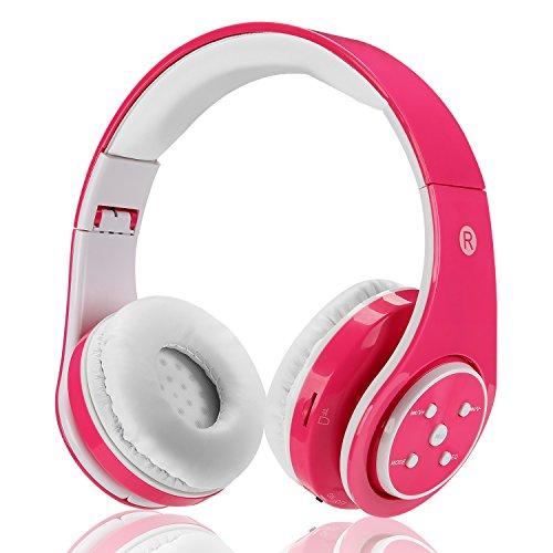 Bluetooth Wireless Over Ear Stereo Kopfhörer kabellos Verkabelt Headset mit Mikrofon für Musik Streaming für iPhone 6S 6 5S 4S iPad iPod Samsung Galaxy Smart Phones Bluetooth Geräte (Rosa)