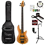 ESP LH1004SEBMHN-KIT-1 H Series H-1004SE 4-String Solid Burled Maple Top Electric Bass, Honey Natural