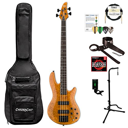 ESP LH1004SEBMHN-KIT-1 H Series H-1004SE 4-String Solid Burled Maple Top Electric Bass, Honey Natural by ESP