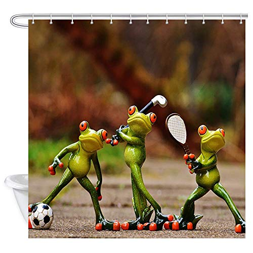 (Aniaml Decor Shower Curtain Set, Interesting Porcelain Frogs are Playing Soccer Golf Tennis Sports game Kids Theme Bathroom Accessories, Polyester Fabric Bathroom Decor Set with Hooks, 69 X 70)