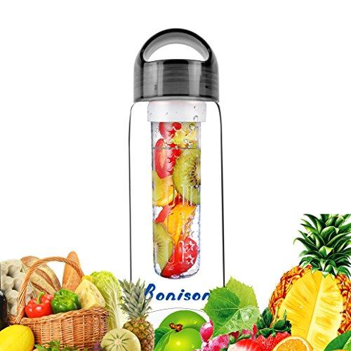 Sales-Fruit Infuser Sport Water Bottle BPA-Free Shatter-Proof Tritan Bottle Naturally Flavored Fruit Infused Water, Juice, Iced Tea, Lemonade 23 Oz-black