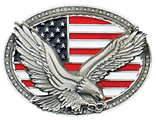 Western Express Eagle on USA Flag Belt Buckle 4 x 3-Made in USA (Flag Belt Buckle)