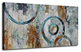 Canvas Wall Art Prints Abstract Geometry Circle Blocks Grey Brown Painting Picture One Panel Large Size Modern Artwork Framed Ready to Hang for Home and Office Décor 40'x20', Original Design