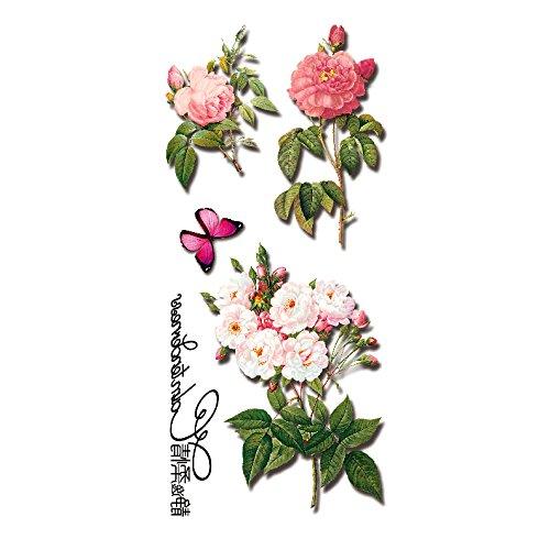 Oottati Tatouages Temporaires 3D Fleur Papillon (2 Feuilles)