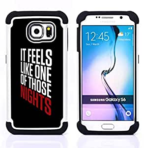 GIFT CHOICE / Defensor Cubierta de protección completa Flexible TPU Silicona + Duro PC Estuche protector Cáscara Funda Caso / Combo Case for Samsung Galaxy S6 SM-G920 // nights text cool party black poster //