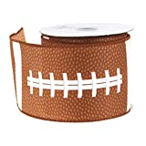 Football Polyester Ribbon Wired Edge, Brown, 2-1/2-Inch, 10 Yards