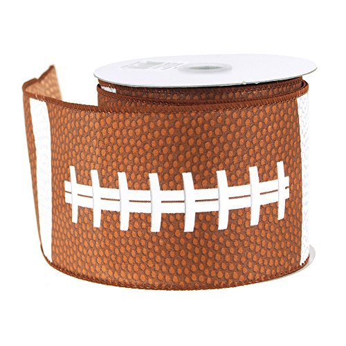 Football Polyester Ribbon Wired Edge, Brown, 2-1/2-Inch, 10 Yards by Firefly Imports
