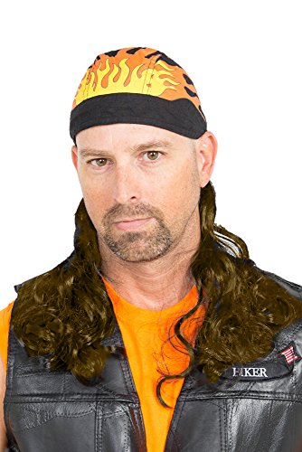 [The Fury Mullet Wig Skull Cap] (Wigs For Mens)