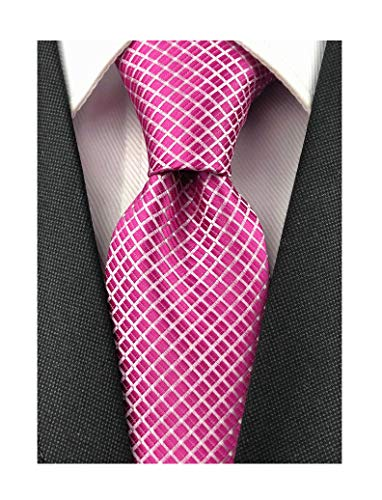 Men's Rose Red Ties Handmade Spot Pin dots & Plaid 3