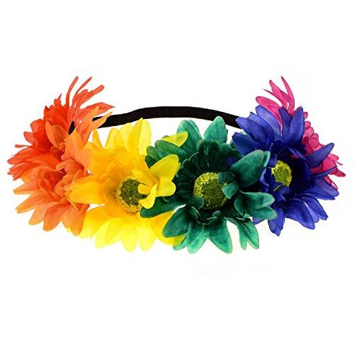 Floral Fall Rainbow Sunflower Crown Hippies Daisy Hair Wreath Pride Party Headpiece DY-02 (Rainbow) - Rainbow Daisy