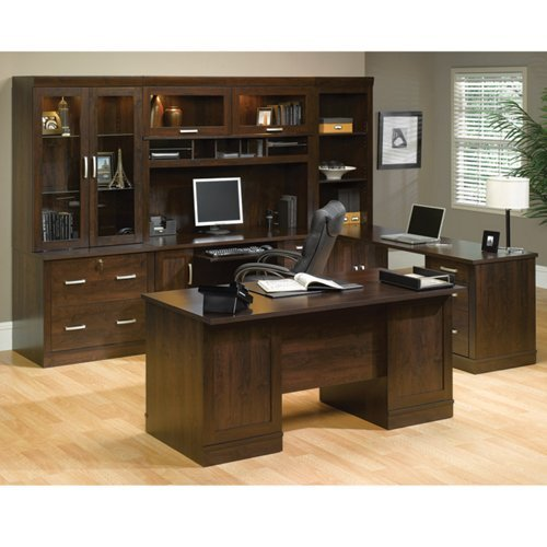 Sauder Office Furniture Office Port Collection Dark Alder Executive Office Suite