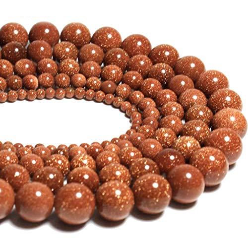 8mm Black Onyx Gemstone Round Loose Beads for Jewelry Making(47-50pcs/strand) (Gold Sand Stone) - Onyx Gemstone Round Shape