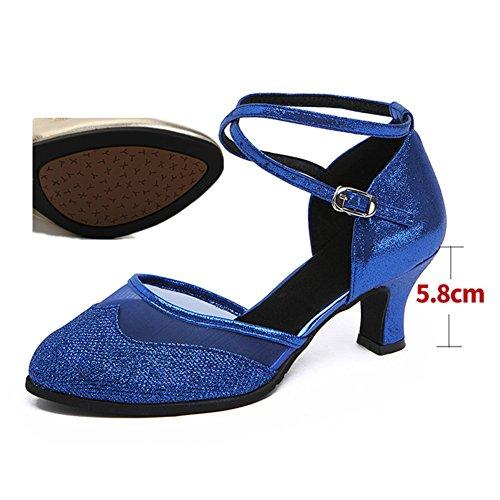 De Womens Latine Sandale talons Danse Chaussures Net Moyens Fils Wymname Sociale Bleu gIUdYY