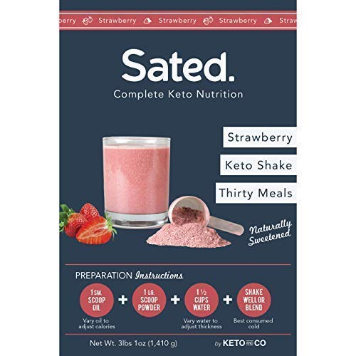 Sated Keto Meal Shake Strawberry Naturally Sweetened (Ketolent) | 30 Meals | 2.3g Net Carbs | Low Carb Meal Replacement Shake | Optimized for Complete Nutrition