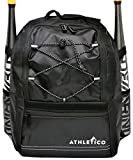 Athletico Youth Baseball Bat Bag - Backpack for Baseball, T-Ball & Softball Equipment & Gear for Kids & Youth | Holds Bat, Helmet, Glove | Fence Hook (Black)