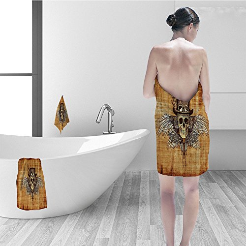 - Hand towel set Skulls Decorations Collection Cool Skull Icon on Parchement Background Retro Style Dead on Eagle Wings Gothic Polyester Fabric Bathroom Brown Orange