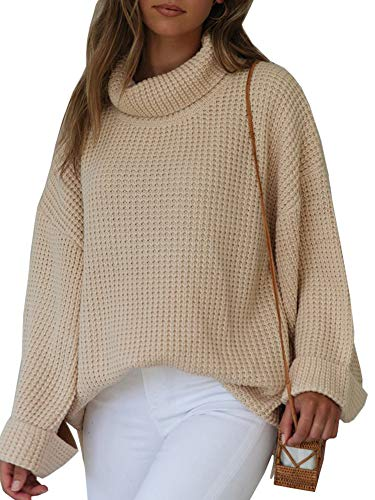 Ybenlow Womens Turtleneck Oversized Sweaters Batwing Sleeve Chunky Loose Slit Pullover Knit Jumper Slouchy Tops