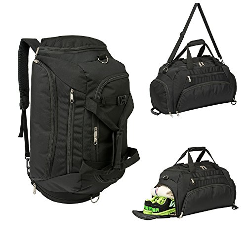Travel Duffel Backpack Luggage Gym Sports Bag Large Tote Portable 3-Way For Fitness Outdoor Hiking Camping(Black)