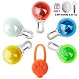 Beslove Pet Cat Dog Collar LED Lights, Upgraded Weather Resistant Shockproof LED Safety Night Walking Light, ID Tag and 12Pcs Batteries Included