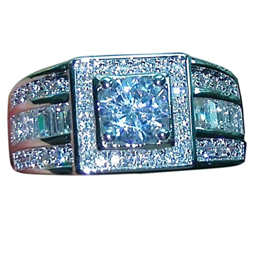 BigRose 2.65CT Men Rings Brilliant Cubic Zirconia Wedding Band Rhodium Plating Engagement Ring Solid 925 Sterling Silver 13