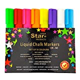 Chalk Pens Coloured, Liquid Chalk Markers set for Nonporous Chalkboards Blackboards kids arts. Bright Colours Paint Marker Pen, Bold/Chisel Tip Wet Erasable 6mm Pack of 8