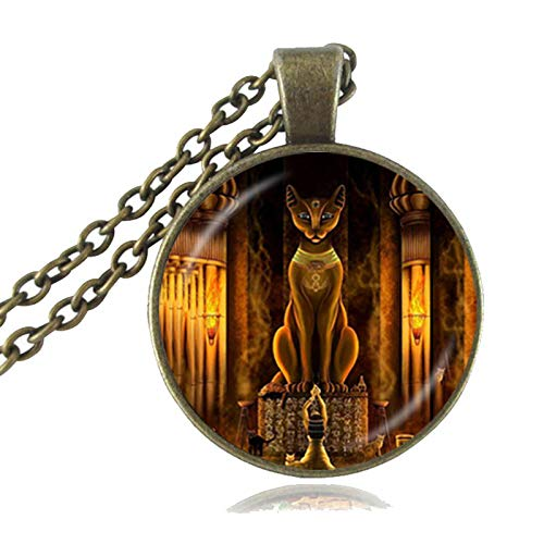 Seed World Pendant Necklaces - Ancient Egyptian Cat Goddess Statue Necklace Egypt Lord Pendant Handmade Glass Necklace Women Jewelry Amulet Accessories HZ1 1 PCs]()