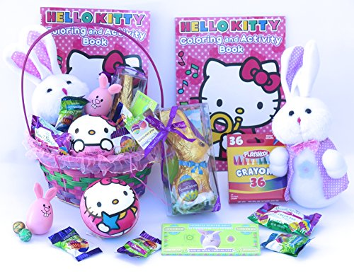 Hello-Kitty-jumbo-Easter-Basket-includes-Hello-Kitty-coloring-and-activity-book-soft-ball-and-jumbo-crayon-also-includes-Russell-stover-chocolate-bunny-chocolate-money-and-plush-easter-bunny12