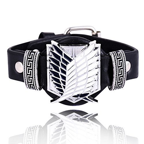 Attack on Titan Bracelet Survey Corps Black Leather TV Alloy Costume