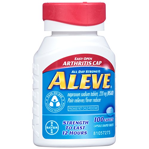 Aleve Easy Open Arthritis Cap Caplets with Naproxen Sodium, 220mg (NSAID) Pain Reliever/Fever Reducer, 100 Count - Naproxen Pain Reliever