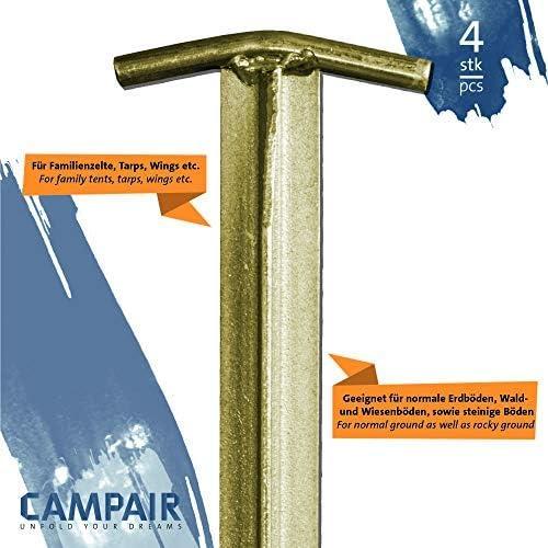 en Acier Galvanis/é Longueur 30,5cm CampAir Kit de 4 Sardines de Tente Profil T