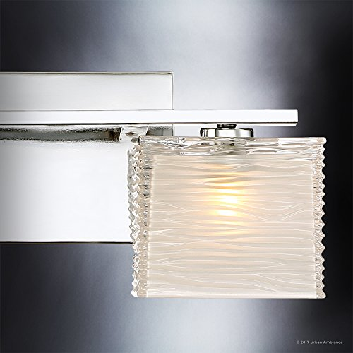 Luxury Modern Bathroom Light, Medium Size: 6.75''H x 15''W, with Style Elements, Polished Chrome Finish and Sandblasted Inner, Clear Wavy Outer Glass, G9 LED Technology, UQL2721 by Urban Ambiance by Urban Ambiance (Image #5)